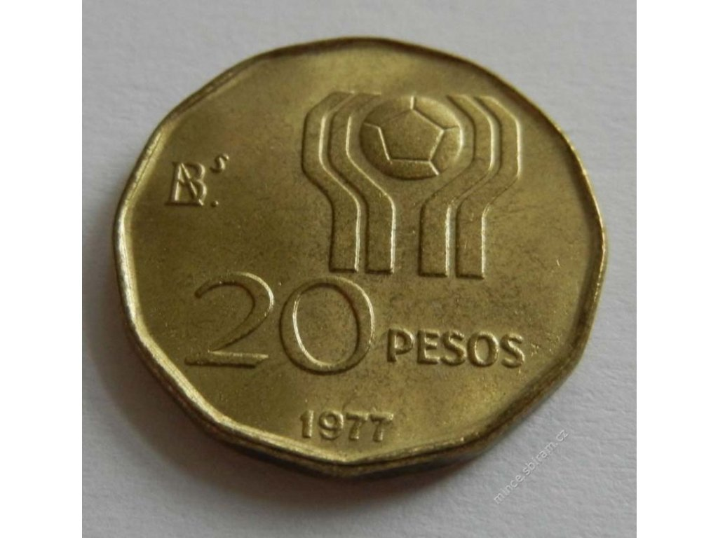 Argentina, mince 20 pesos, 1977, 1/1