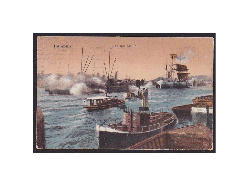Germany, Hamburg, ship St. Pauli on the Labe river, cca 1922