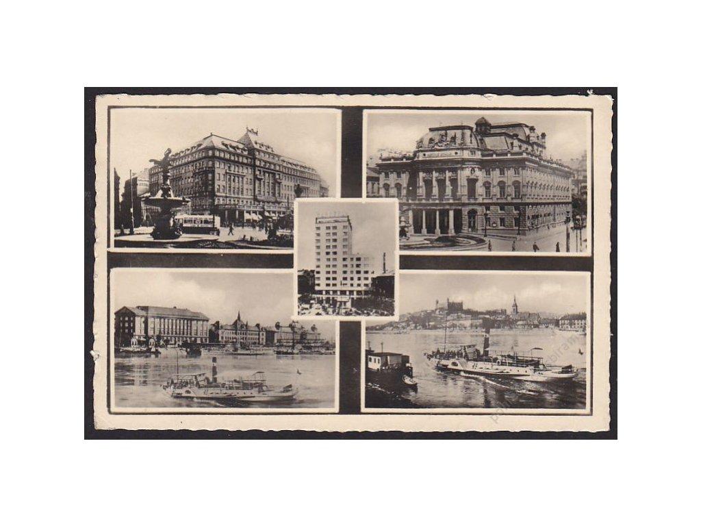 Slovensko, Bratislava, hotel Carlton, městské divadlo, Dunaj s nábřežím, cca 1946