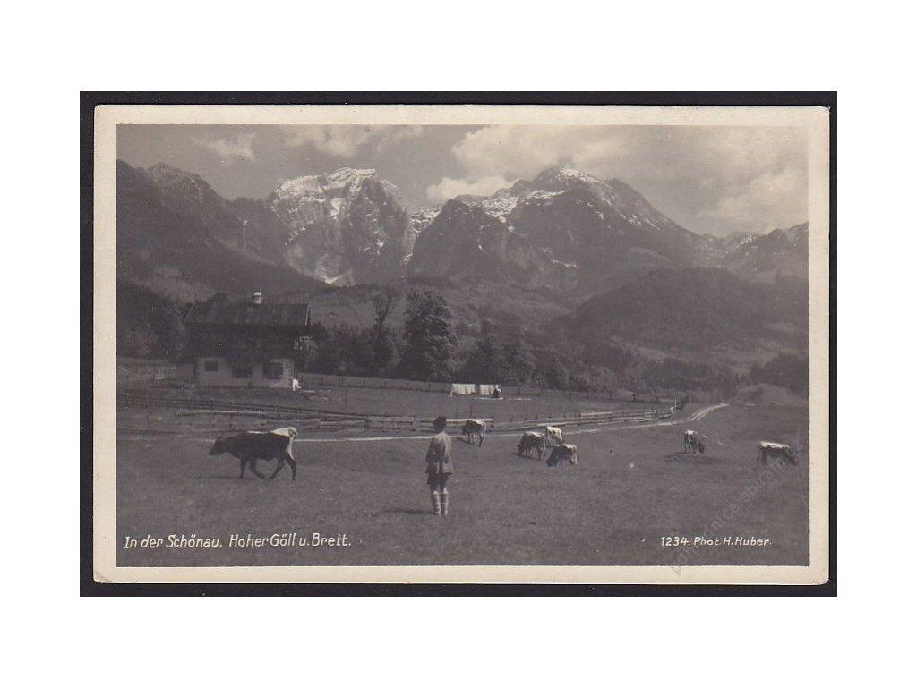 Austria, Berchtesgaden Alps, Hoher Göll mountain and Hohes Brett peak, cca 1925