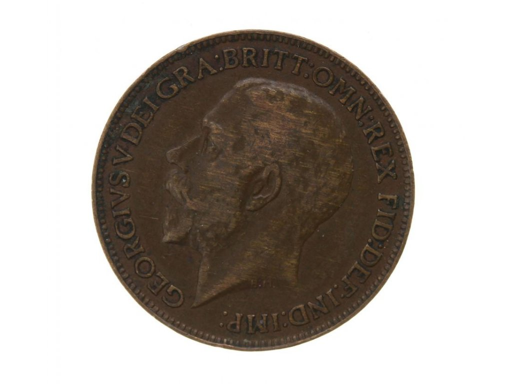 Anglie, mince 1/2  Penny , 1921, stav 1/1