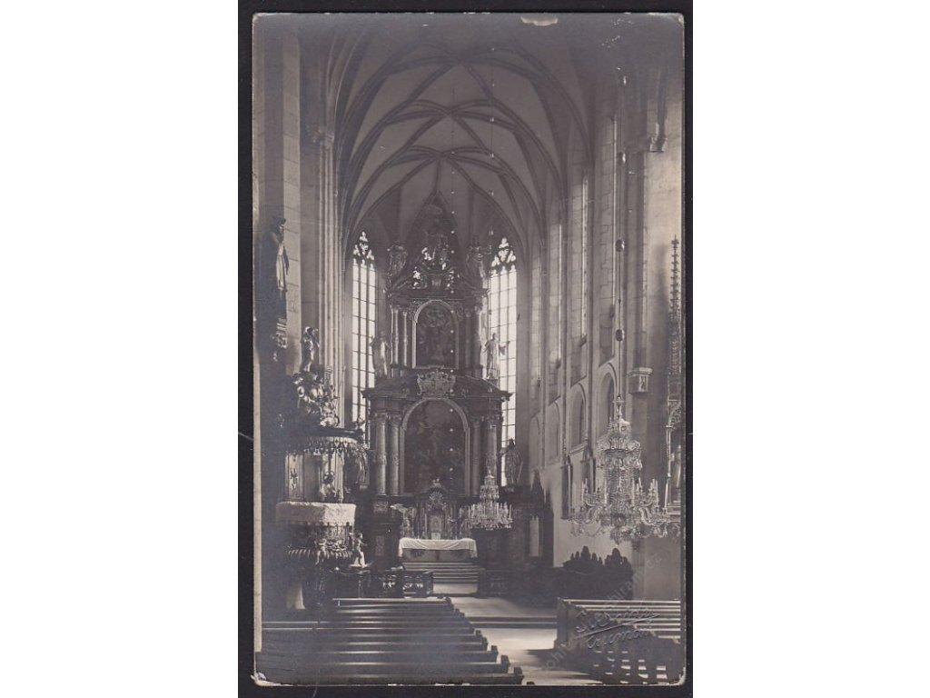 13 - Český Krumlov, kostel sv. Víta, uvnitř, cca foto Seidel, cca 1925