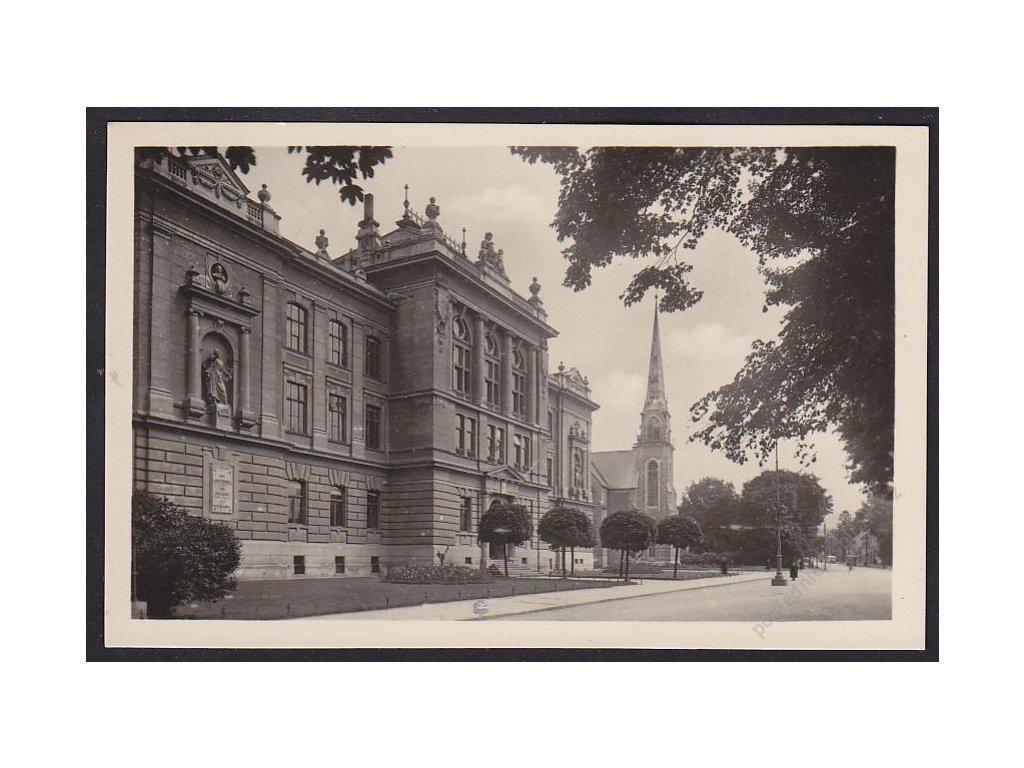62 - Šumperk, Gymnázium císaře Františka Josefa a evangelický kostel, cca 1935