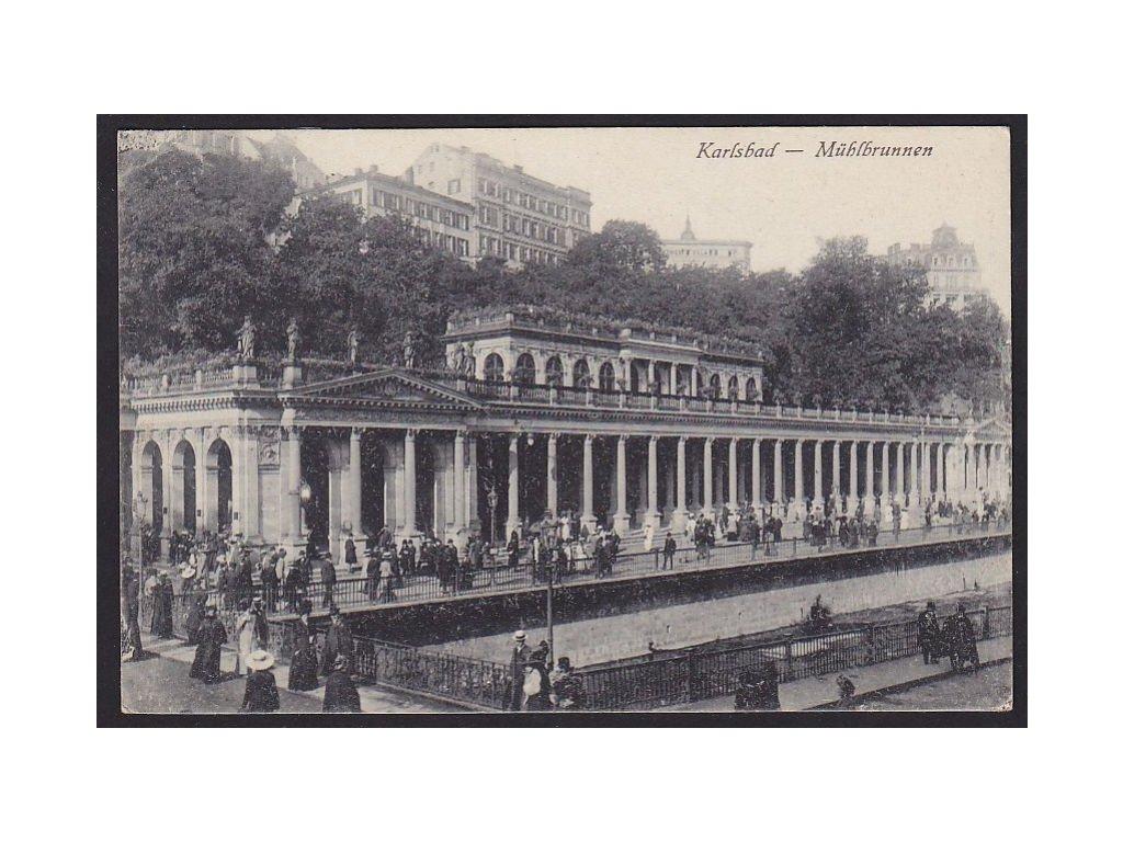 25 - Karlovy Vary, (Karlsbad), kolonáda u mlýnského pramene (Mühlbrunnen), cca 1918