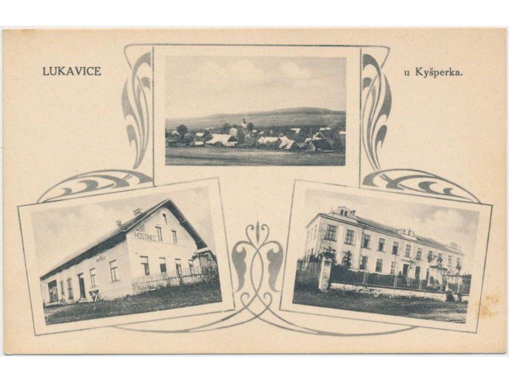 70 - Orlickoústecko, Lukavice, 3 - záběr, hostinec U Pospíšilů, škola, cca 1912