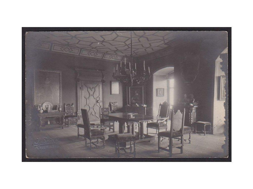 13 - Český Krumlov, uvnitř zámku, foto Seidel, cca 1910