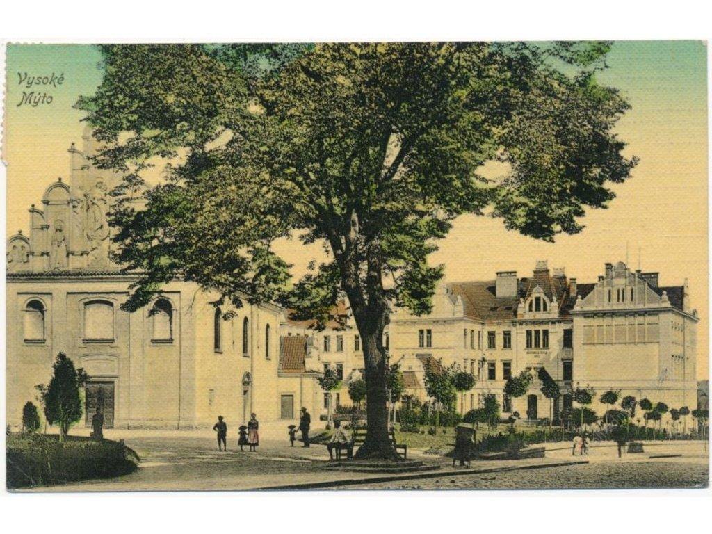 70 - Orlickoústecko, Vysoké Mýto, oživená partie z náměstí, cca 1912