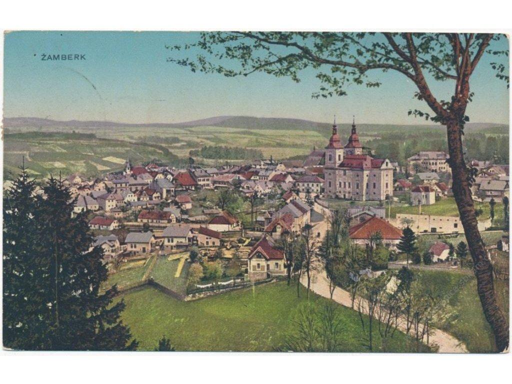 70 - Orlickoústecko, Žamberk, celkový pohled na město, cca 1912