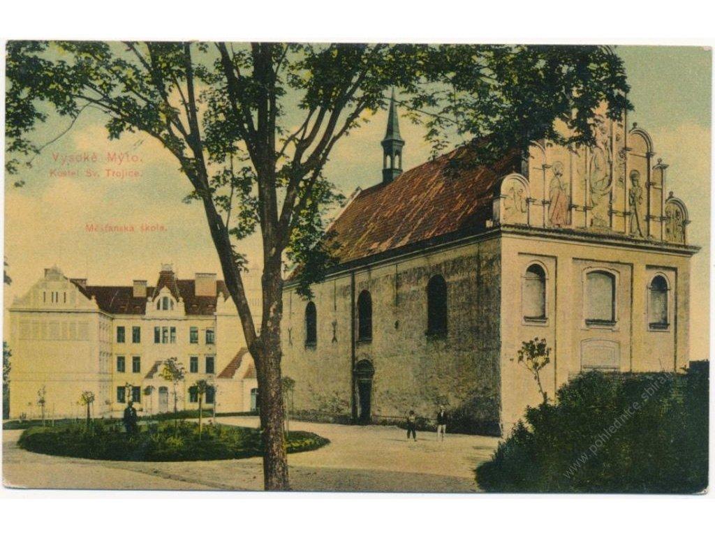 70 - Orlickoústecko, Vysoké Mýto, Měšťanská škola a kostel Sv. Trojice, cca 1912