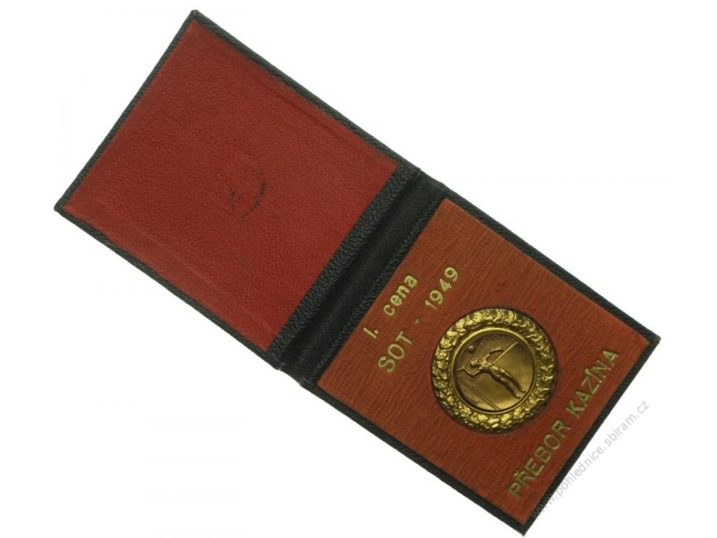 ČSSR, Odbíjená, I. cena přeboru Kazína, průměr 45mm, 1949