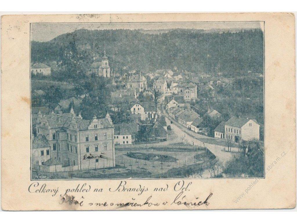 70 - Orlickoústecko, Brandýs nad Orlicí, celkový pohled na město, nákl. F. Jančura, cca 1905