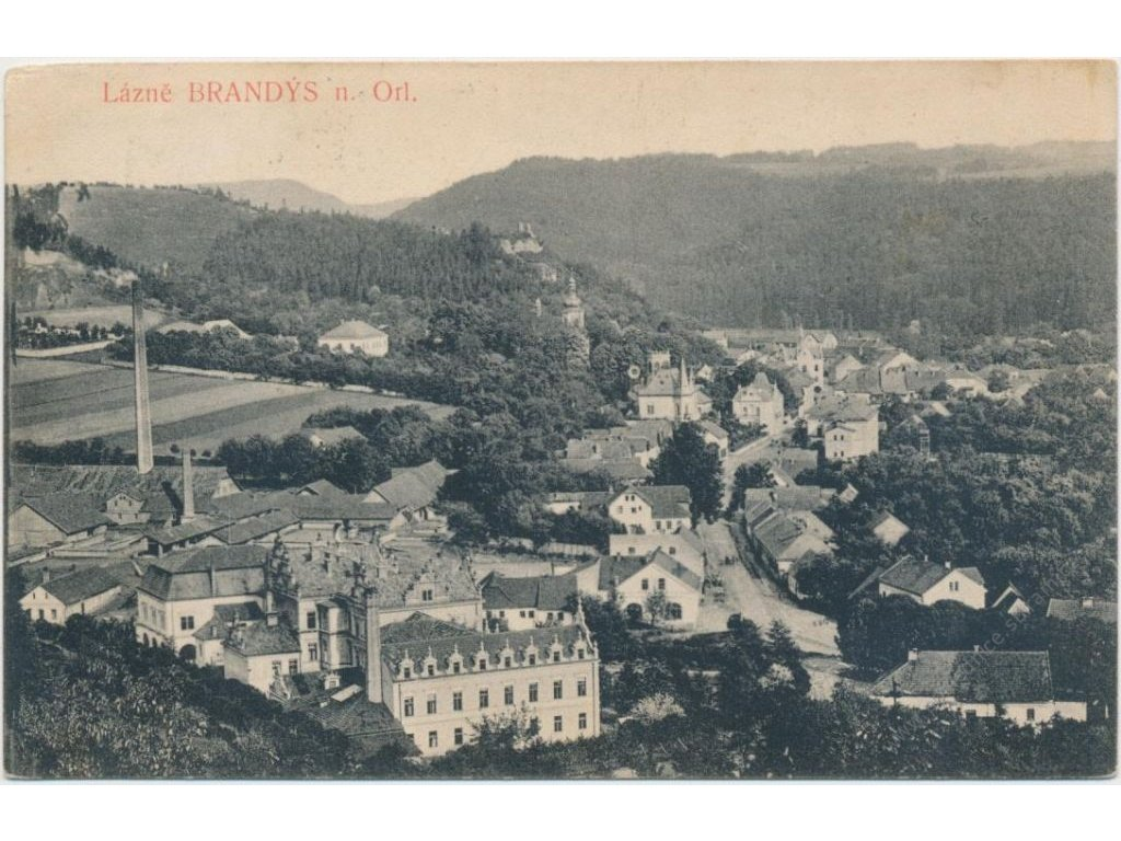 70 - Orlickoústecko, Brandýs nad Orlicí, celkový pohled, cca 1915