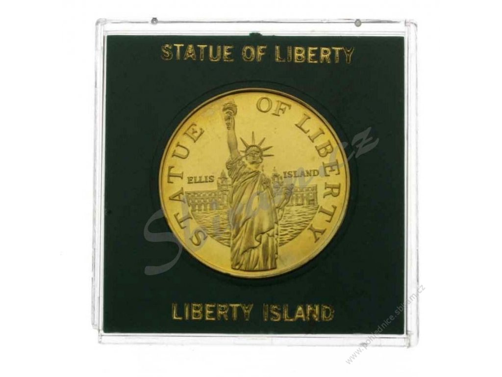 Statue of Liberty, AE pozlacená medaile Liberty Island, plastová etue