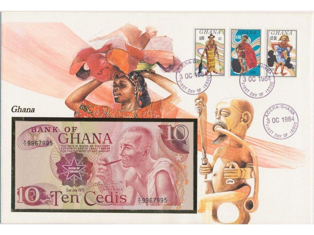 Ghana, pamětní bankovková obálka,hledané, ojedinělý výskyt