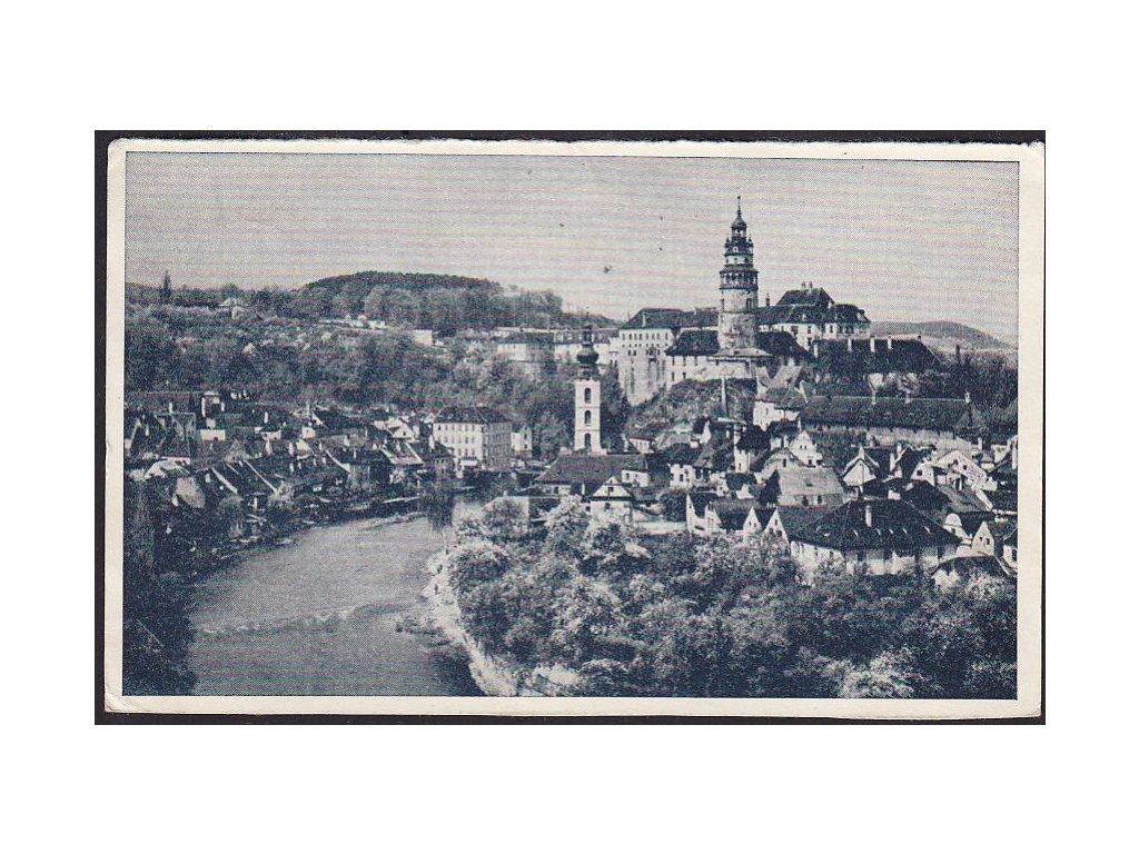13 - Český Krumlov (Böhmisch Krumau), panorama zámku, cca 1951