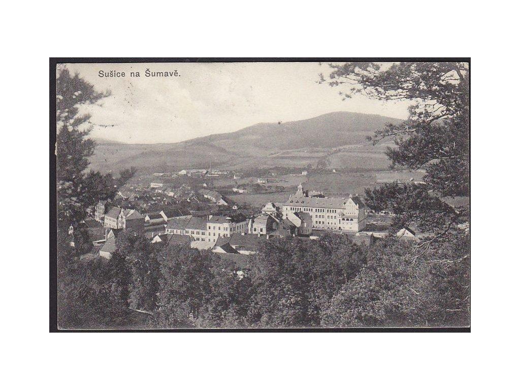 28 - Šumava, Sušice, pohled z lesa, cca 1911