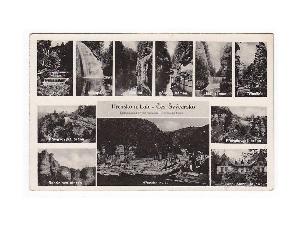 14 - Děčínsko, České Švýcarsko, Hřensko nad Labem, Edmundova a divoká soutěska, cca 1930