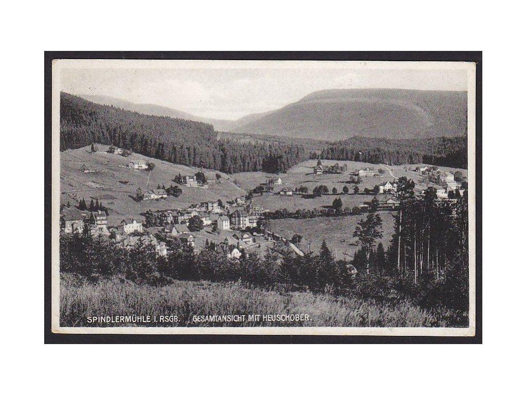 66 - Trutnovsko, Krkonoše, Špindlerův mlýn (Spindler Mühle), pohled ze Stohu, cca 1936
