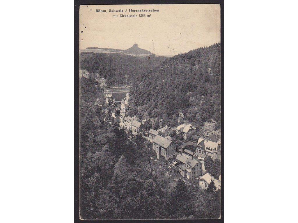 14 - Děčínsko, Hřensko, České Švýcarsko, Zirkelstein, nakl. Trau & Schwab,  cca 1923