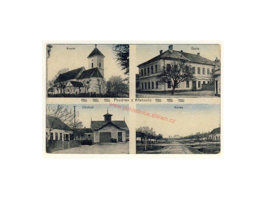 53 - Vyškovsko, Křenovice, 4 - záběr, obchod, náves, škola.., cca 1920