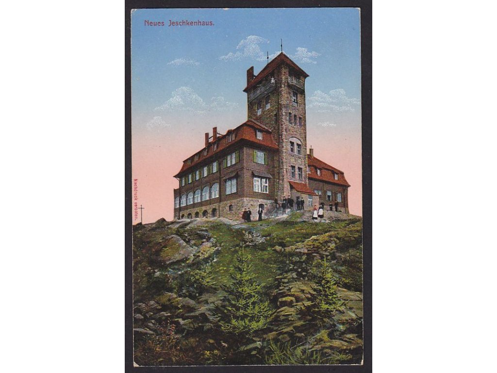 32 - Liberecko, Ještěd, nova stavda na vrcholu, nakl. Německý horský klub, cca 1908