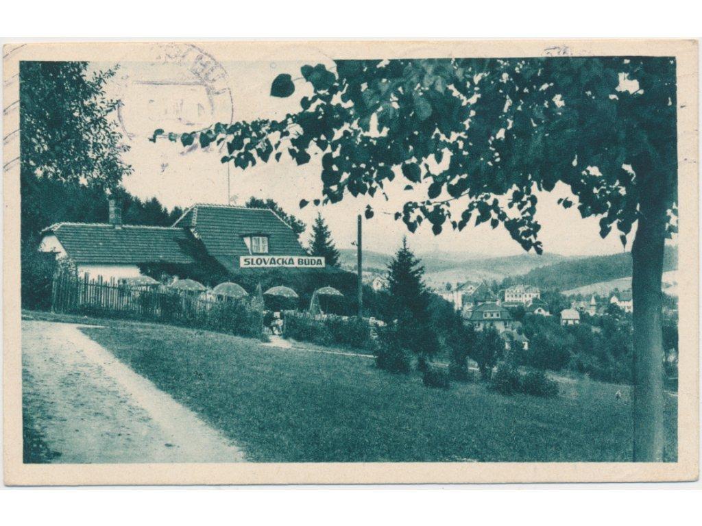73 - Zlínsko, Luhačovice, partie před Slováckou búdou, cca 1929