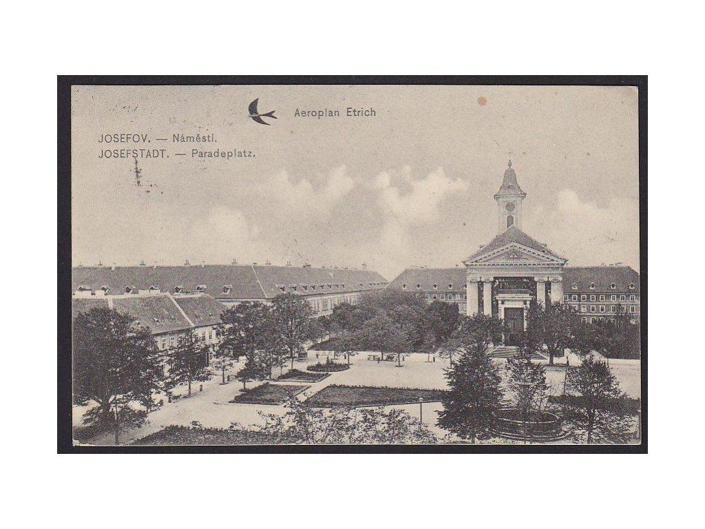 38 - Náchodsko, Josefov (Josefstadt), náměstí, Aeroplan Etrich, nakl. Němeček, cca 1914