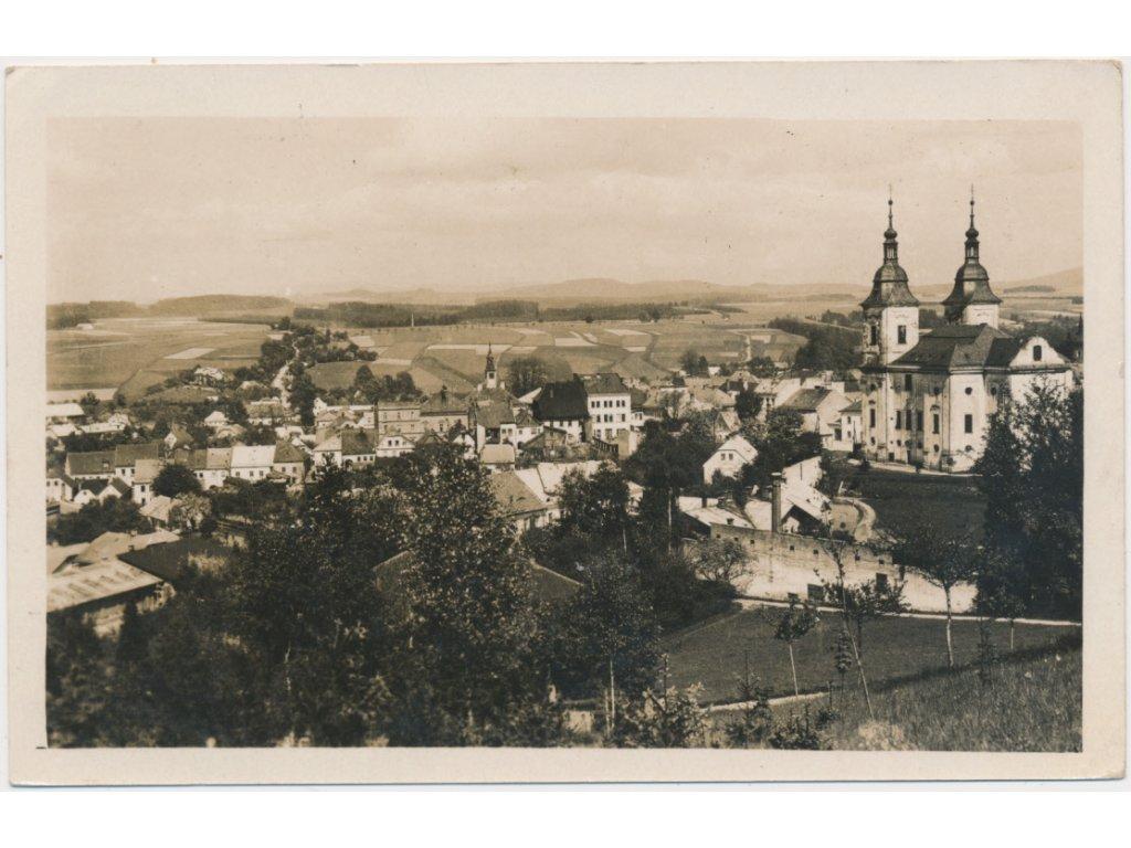 70 - Orlickoústecko, Žamberk, celkový pohled na město se zámkem, cca 1948