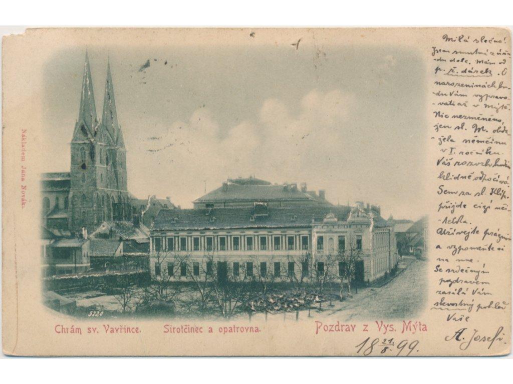 70 - Orlickoústecko, Vysoké Mýto, Chrám sv. Vavřince, Sirotčinec a opatrovna, cca 1899