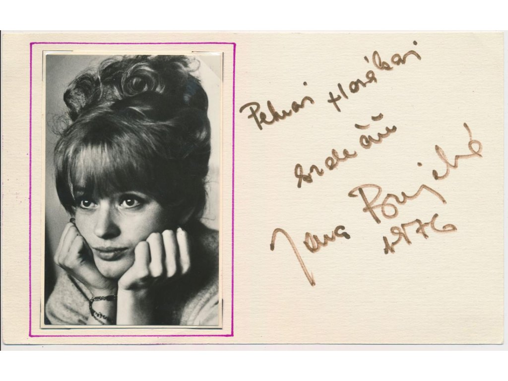 Brejchová Jana (1940), herečka, sběratelská  karta, datováno 1976