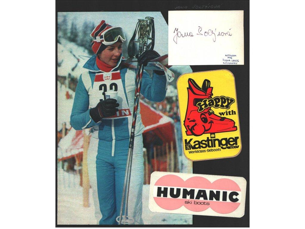 Šoltýsová Jana (1959), sjezdové lyžování, sběratelský list s podpisem