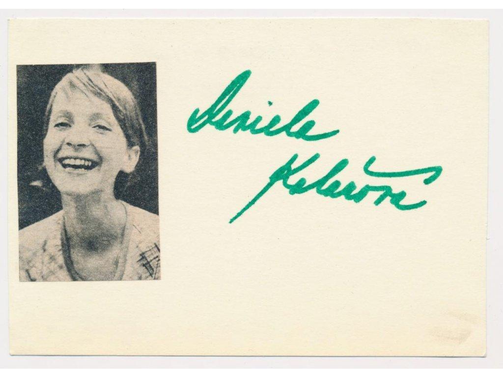 Kolářová Daniela (1946), herečka, sběratelská karta s podpisem