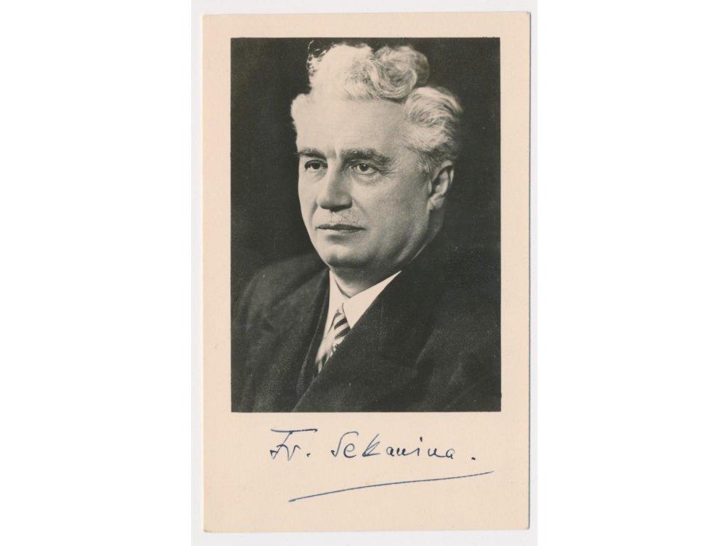 Sekanina František (1875-1958), český básník, portrétová pohlednice