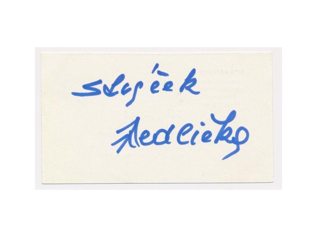 Jedlička Antonín (Strýček Jedlička) (1923-1993), vizitka  podpisem
