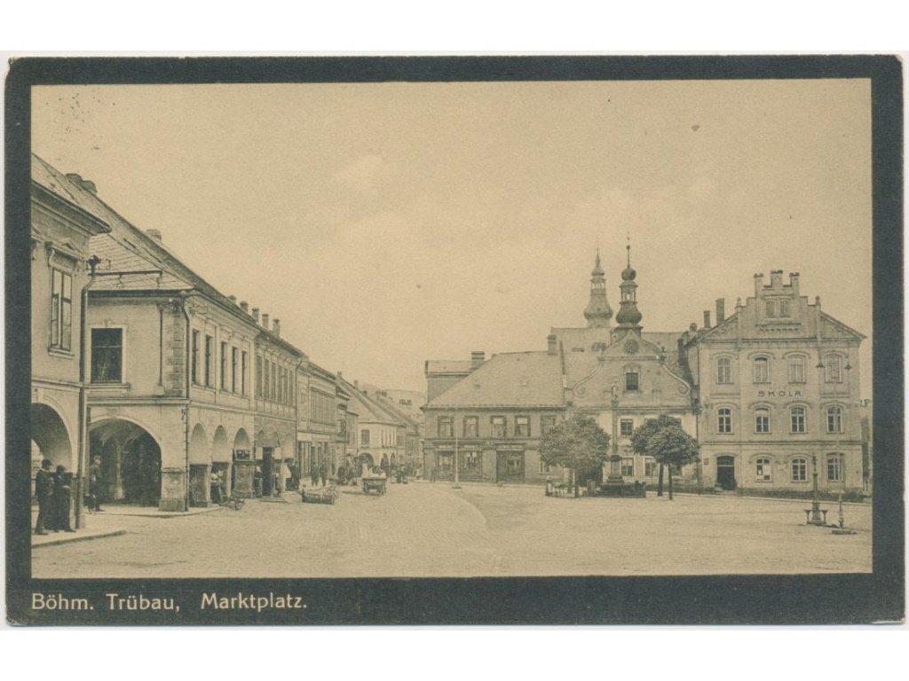 70 - Orlickoústecko, Česká Třebová, oživené náměstí, cca 1921