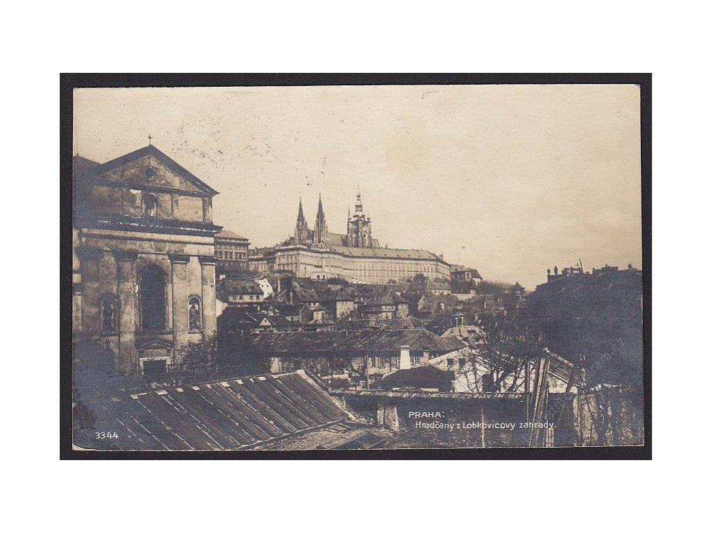 49 - Praha, Hradčany z Lobkovicovy zahrady, foto Fon, cca 1924