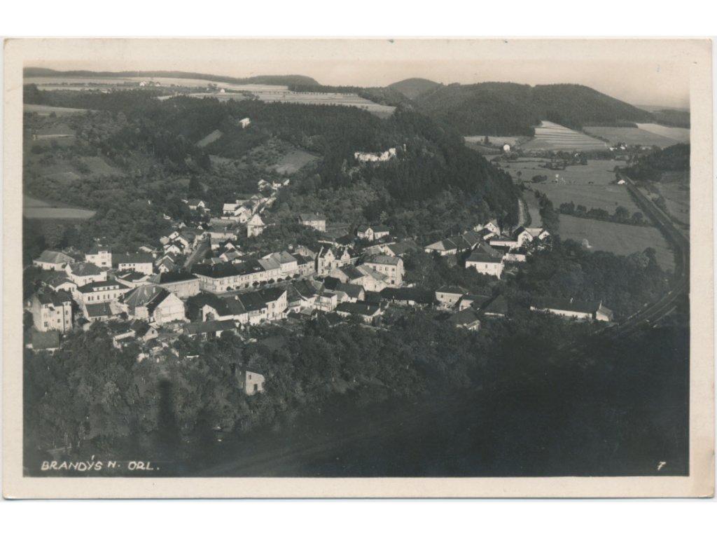 70 - Orlickoústecko, Brandýs nad Orlicí, celkový pohled, na město, cca 1948