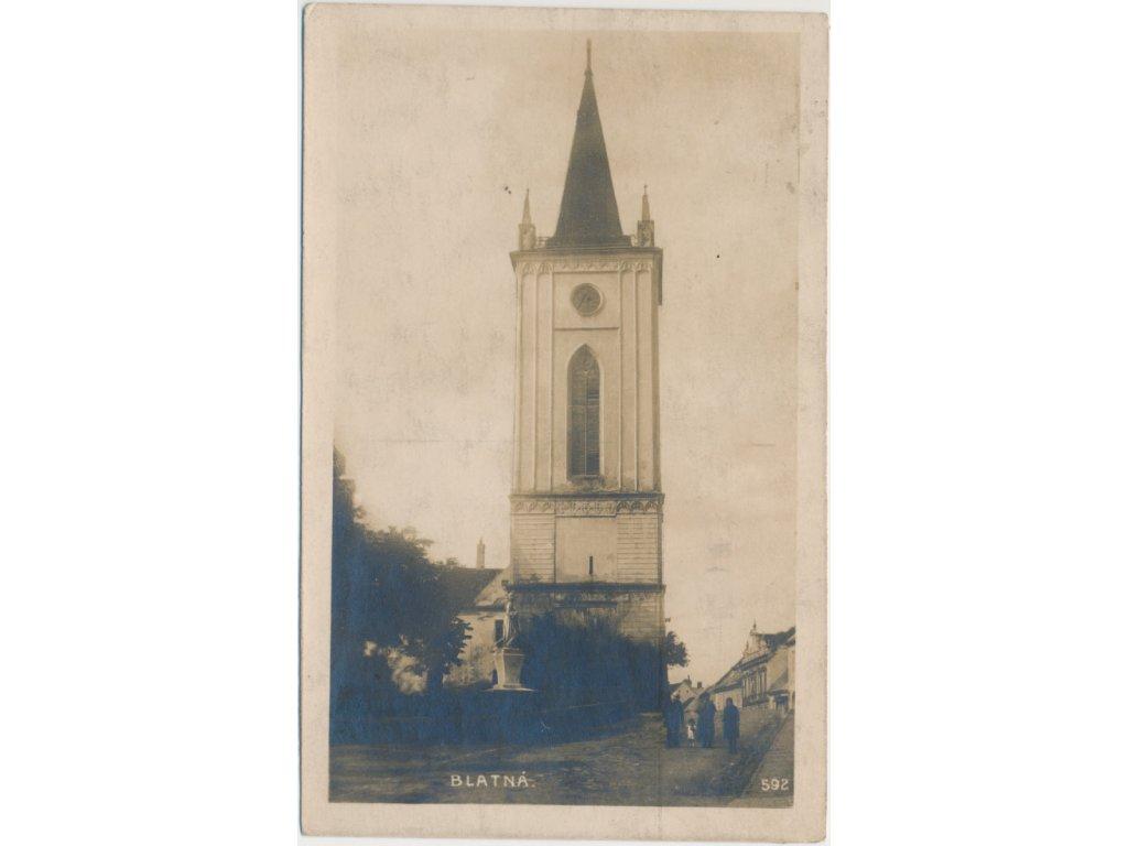 60 - Strakonicko, Blatná, oživená partie na náměstí před zvonicí, cca 1925