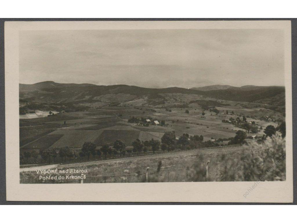 58 - Semilsko, Vysoké nad Jizerou, pohled od Krkonoš, foto Čermák, cca 1930