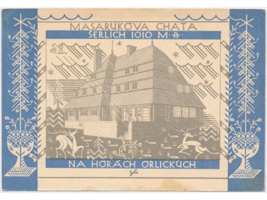 70 - Orlickoústecko, Suchý vrch, Masarykova chata-reklamní pohlednice