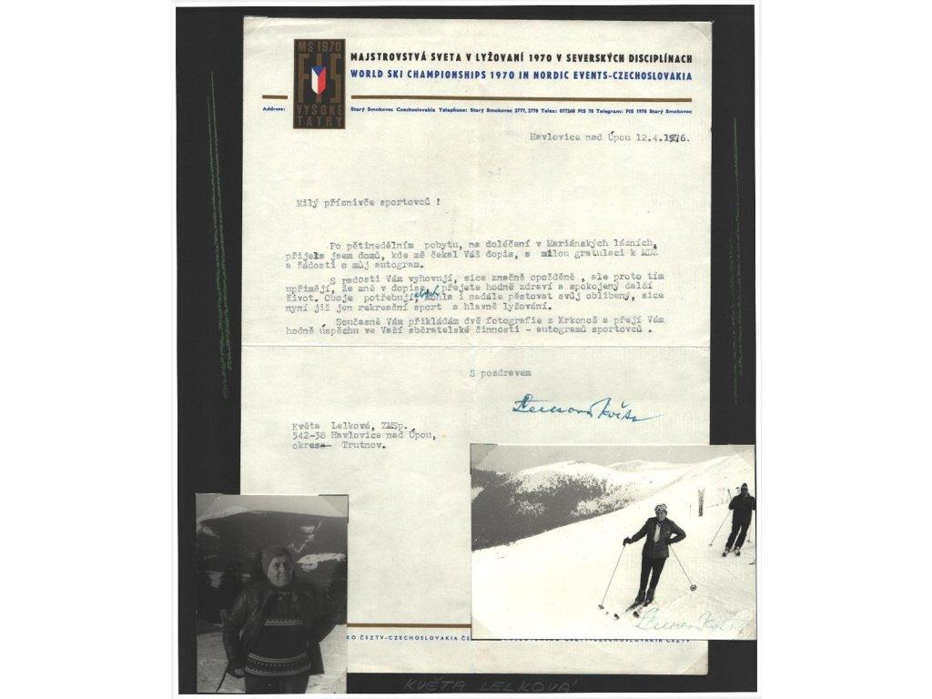 Lelková Květa (1908-1986), lyžařka, list A4 s dopisem a podpisem, foto