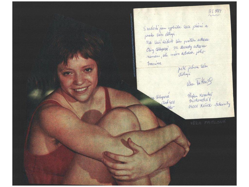 Faitlová Věra (1957), plavání, list A4 s vlastnoručně psaným dopisem