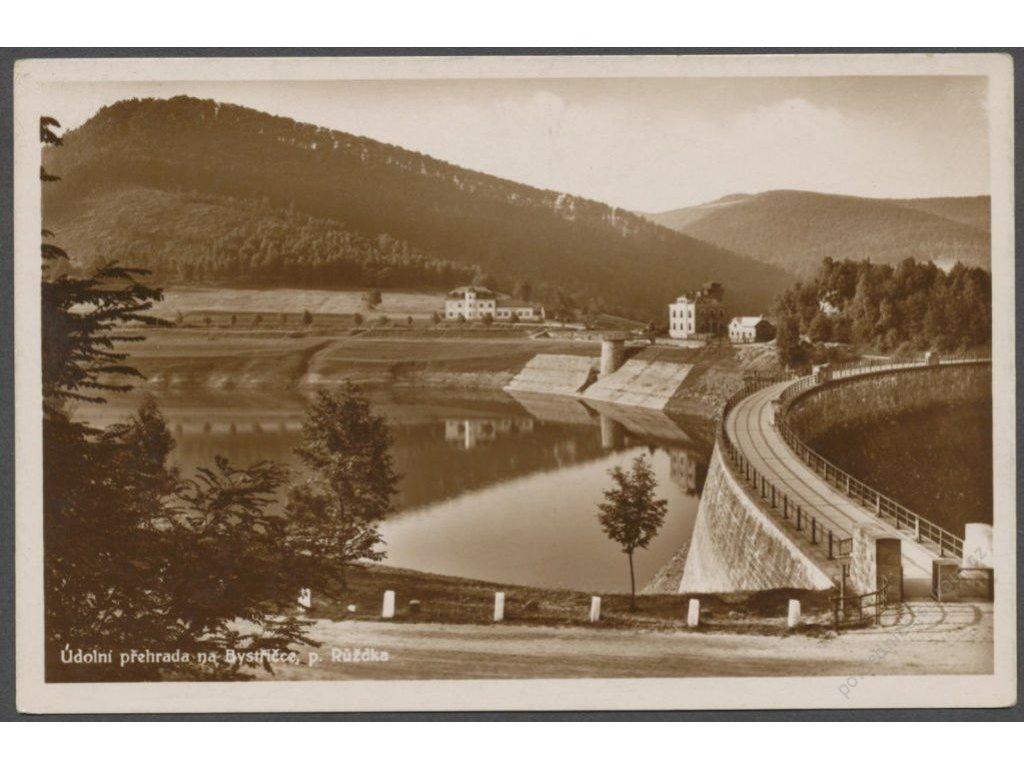 71 - Vsetínsko, Růžďka, údolní přehrada na Bystřičce, cca 1935