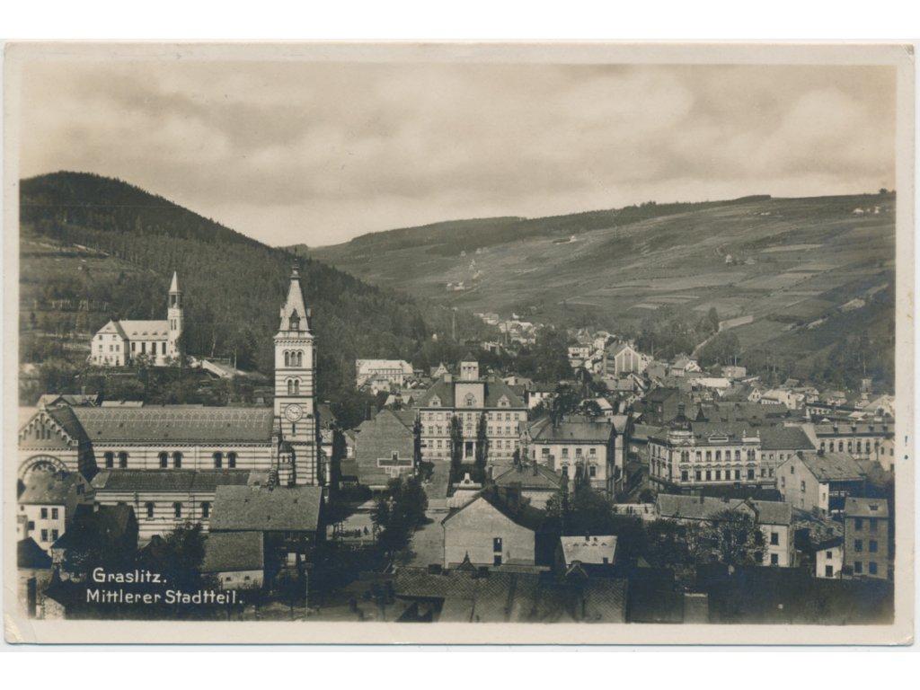 59 - Sokolovsko, Kraslice, celkový pohled na město, cca 1938