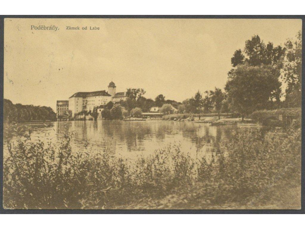 40 - Nymbursko, Poděbrady, zámek od Labe, cca 1912