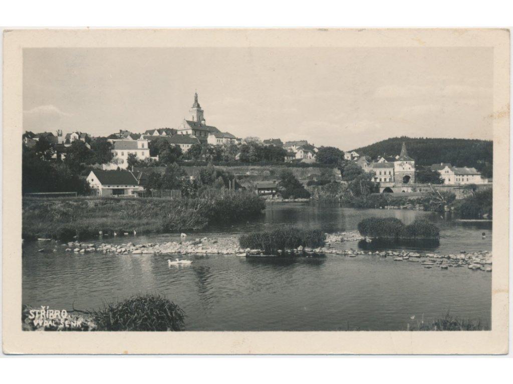 63 - Tachovsko, Stříbro, pohled na město od řeky, foto Valentin, 1947