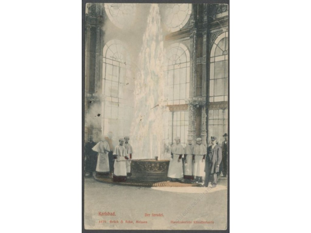 25 - Karlovy Vary (Karlsbad), pramen (Sprudel), nakl. Brück & Sohn, cca 1907
