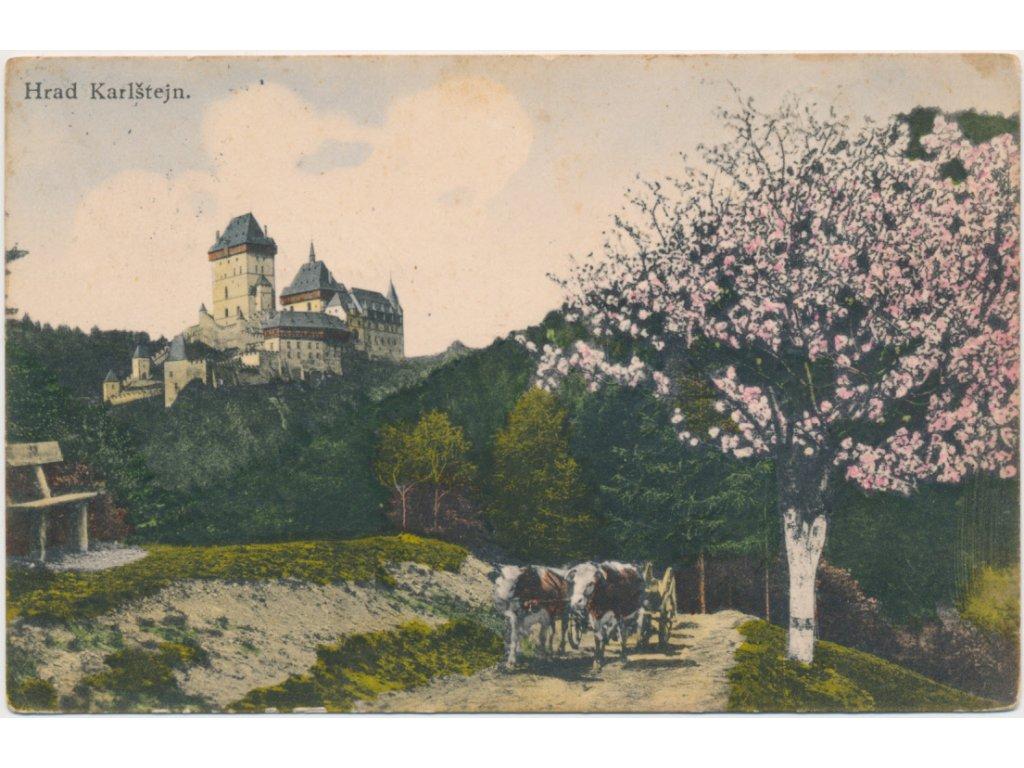 02 - Berounsko, Karlštějn, oživená partie pod hradem, cca 1939