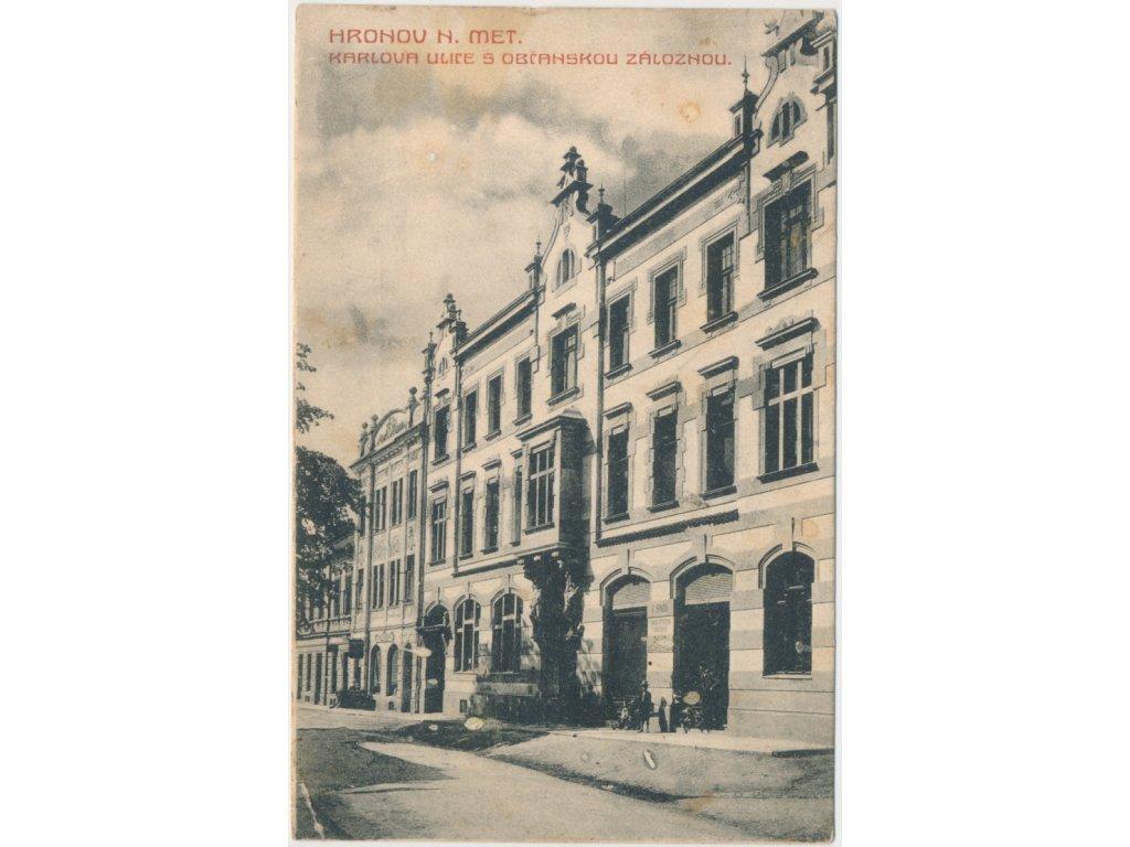 38 - Náchodsko, Hronov, Karlova ul., oživená partie před záložnou, 1900