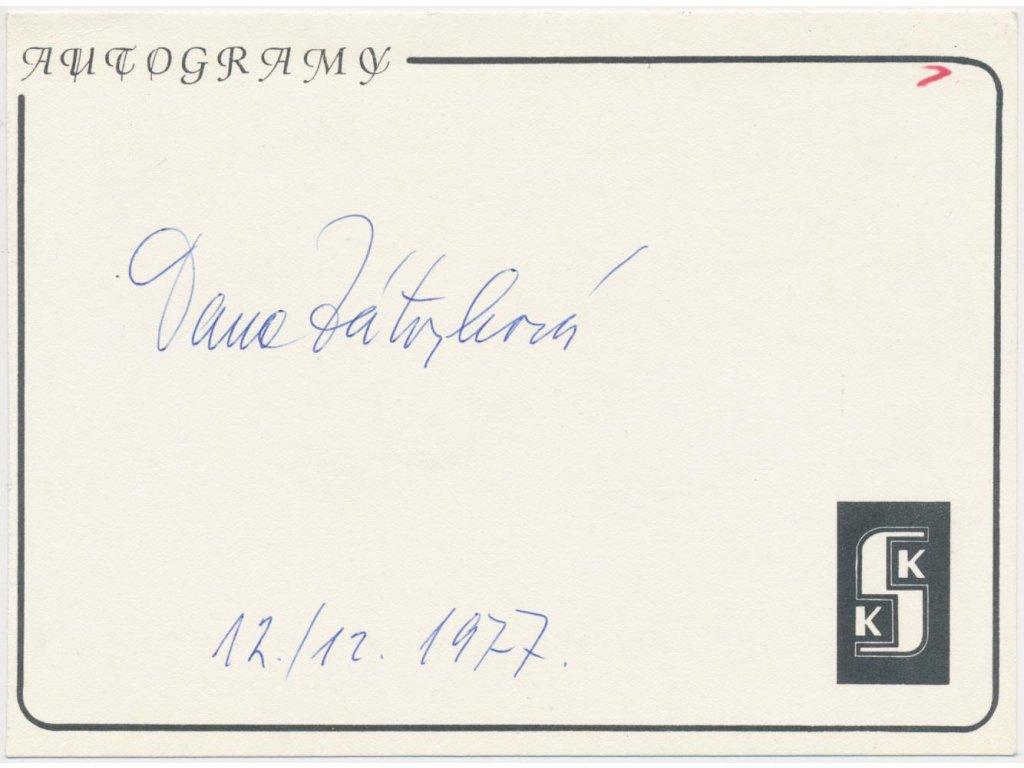 Zátopková Dana(1922 - 2020), atletka, olympionička, karta s podpisem